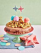 Caramel Peanut Choc Popcorn Cheesecakes