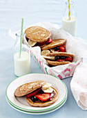 Milo and fruit pikelet sandwiches