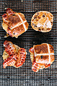Hot cross buns with cheese and bacon
