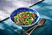 Tagliatelle with zucchini spaghetti and vegetables