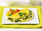 Omelett mit Spinat und pochiertem Ei