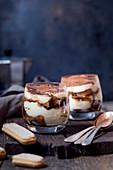 Tiramisu with mascarpone, cocoa, espresso and sponge fingers