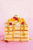 Exotischer Schachbrett-Lamington-Kuchen