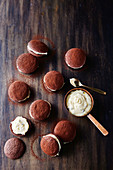 Chocolate sandwich cookies with passionfruit white choc ganache