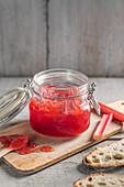 Homemade spring rhubarb and vanilla jam
