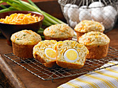 Muffins filled with hard-boiled eggs