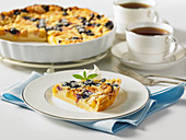 Peach and blueberry clafoutis