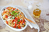 Basmati rice with peppers, grilled zucchini, feta, cherry tomatoes, spring onion and fresh aromatic herbs