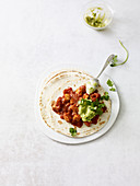 Chicken tacos with guacamole