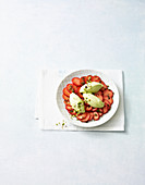 Strawberry carpaccio with avocado mousse