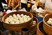 Baozi (steamed dumplings) in a restaurant kitchen (Singapore)