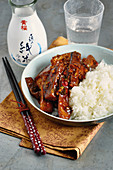 Fish and eggplant stir fry with rice (Singapore)
