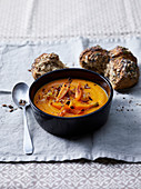 Carrot and Roasted Onion Creamy Soup with Red Lentils