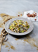 Hemp Tagliatelle Pasta with Leeks and Hazelnuts