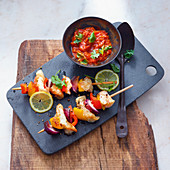 Grilled fish and vegetable kebabs with salsa