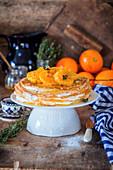 Pancake cake with tangerines