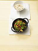 Stir fried kale with coconut rice