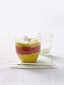 Coconut and chia pudding with mango and raspberries