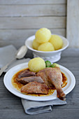 Roast goose with potato dumplings