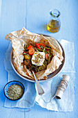 Kleftiko, Greek meat and vegetables dish with feta