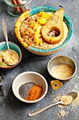 Porridge with caramelized pear and mango