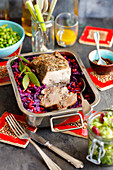 Pork neck baked with red cabbage