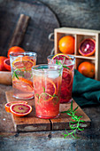 Blood orange lemonade in glasses