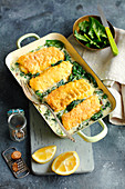 Gratinated fish fillets with spinach and blue cheese