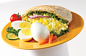Stuffed pita bread with egg salad