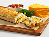 Stromboli with broccoli, cheddar and egg