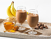Chocolate and banana smoothies with honey and peanut butter