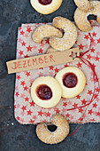 Jam and vanilla biscuits on a star cloth