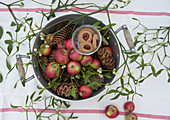 An old pot filled with Christmas apples, mistletoe, pine cones and jam biscuits