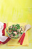 Salmon salad with miso dressing