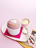 Shared Raspberry and Chocolate Souffle for Valentine's Day
