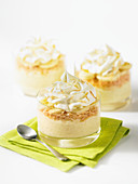 Banana and coconut pudding with icing