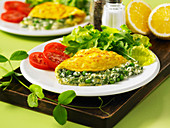 Cheese and spring green pea omelette