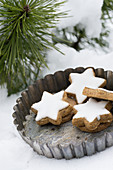 Cinnamon stars in a vintage tart tin in the snow