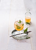 Basil spritzer with ginger beer (alcohol-free)