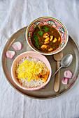 Ghalieh Meygoo (prawns in a tamarind and coriander sauce, Persia)