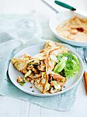 Pfannkuchen mit Knoblauch, Champignons und Brie