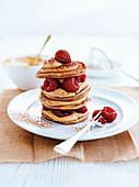 Coffee pancake with raspberries