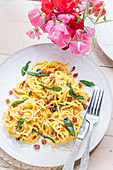 Sumer pasta with pumpkin carbonara and sage