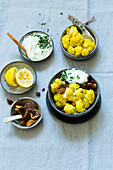 Steamed curried cauliflower with cucumber cream