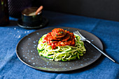 Steamed courgette noodles with a chorizo sauce