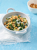 Chard crumble with almond milk and Parmesan cheese