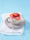 Almond rice pudding with strawberries