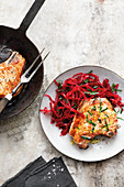 Pork chops with beetroot