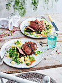 Lamb rumps with fig paste