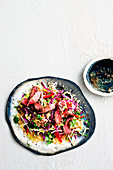 Quinoa slaw with beef and pepper lime dressing